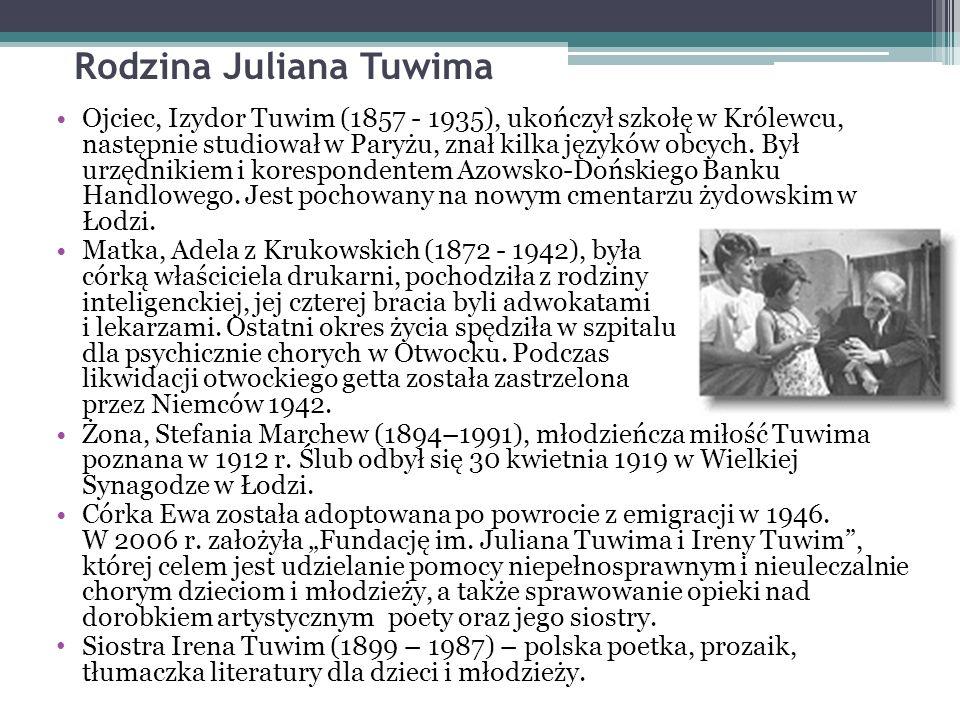 Rodzina Juliana Tuwima Ojciec, Izydor Tuwim (1857 - 1935), ukończył szkołę w Królewcu, następnie studiował w Paryżu, znał kilka języków obcych.