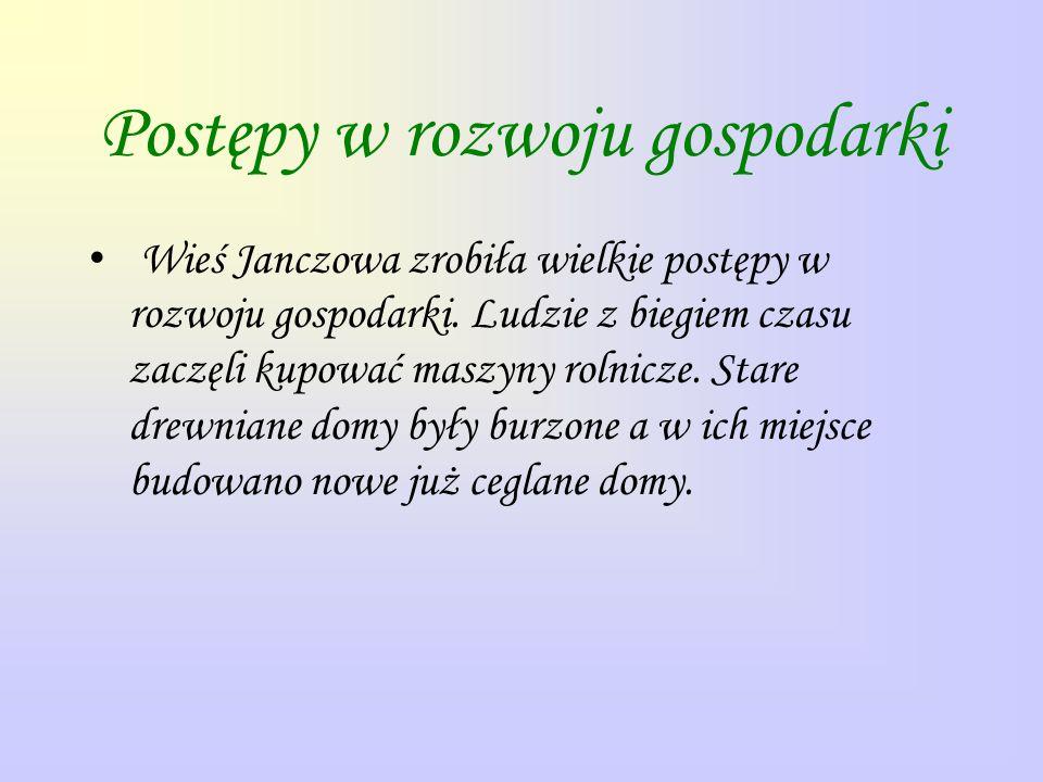 Postępy w rozwoju gospodarki Wieś Janczowa zrobiła wielkie postępy w rozwoju gospodarki. Ludzie z biegiem czasu zaczęli kupować maszyny rolnicze. Star