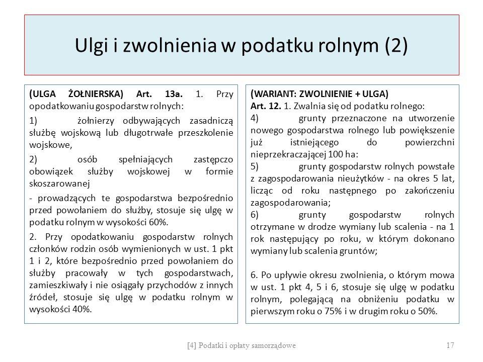 Ulgi i zwolnienia w podatku rolnym (2) ( ULGA ŻOŁNIERSKA) Art.