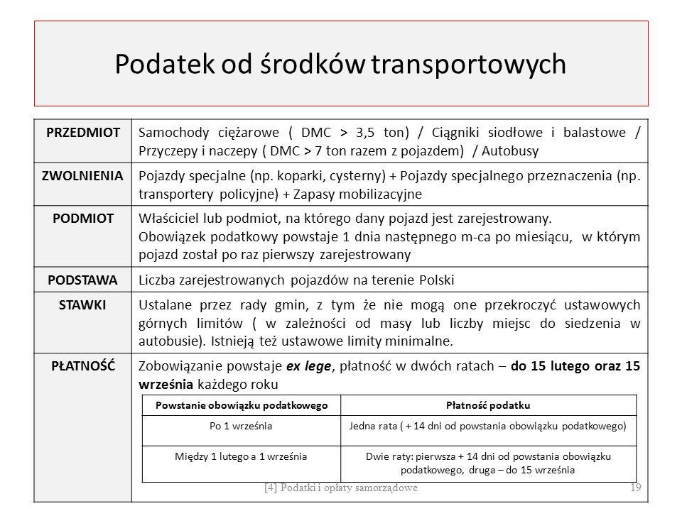 Podatek od środków transportowych PRZEDMIOTSamochody ciężarowe ( DMC > 3,5 ton) / Ciągniki siodłowe i balastowe / Przyczepy i naczepy ( DMC > 7 ton ra