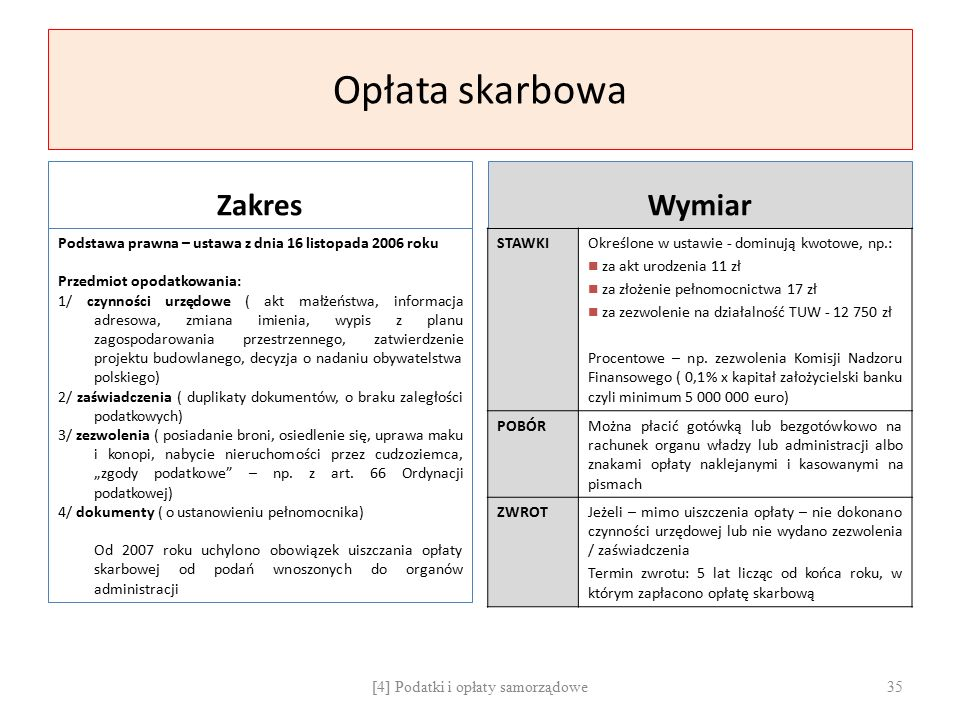 Opłata skarbowa Zakres Podstawa prawna – ustawa z dnia 16 listopada 2006 roku Przedmiot opodatkowania: 1/ czynności urzędowe ( akt małżeństwa, informa