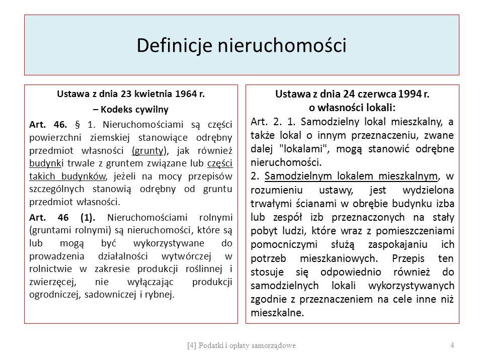 Definicje nieruchomości Ustawa z dnia 23 kwietnia 1964 r. – Kodeks cywilny Art. 46. § 1. Nieruchomościami są części powierzchni ziemskiej stanowiące o