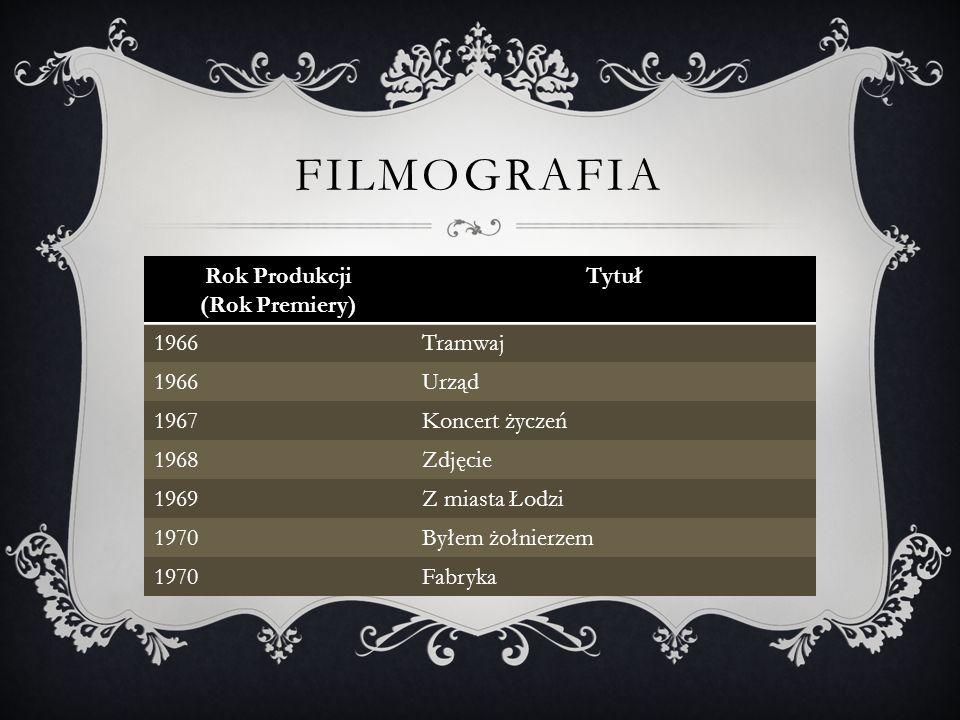 FILMOGRAFIA Rok Produkcji (Rok Premiery) Tytuł 1966Tramwaj 1966Urząd 1967Koncert życzeń 1968Zdjęcie 1969Z miasta Łodzi 1970Byłem żołnierzem 1970Fabryka