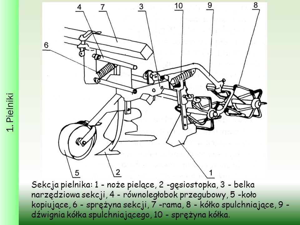 1. Pielniki Sekcja pielnika: 1 - noże pielące, 2 -gęsiostopka, 3 - belka narzędziowa sekcji, 4 - równoległobok przegubowy, 5 -koło kopiujące, 6 - sprę