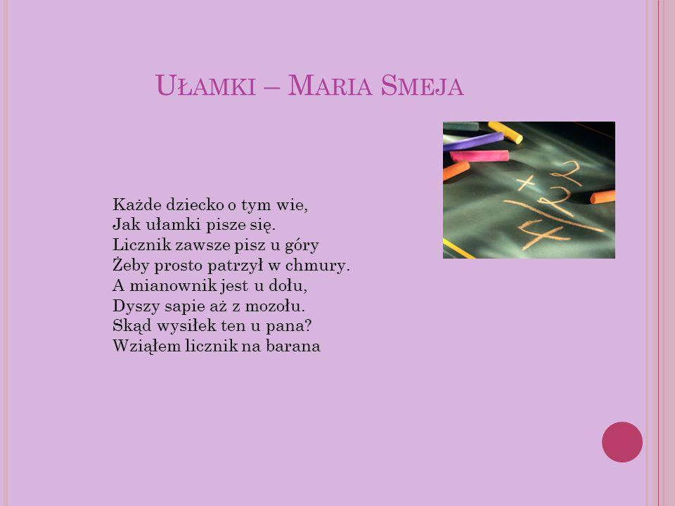 U ŁAMKI – M ARIA S MEJA Każde dziecko o tym wie, Jak ułamki pisze się. Licznik zawsze pisz u góry Żeby prosto patrzył w chmury. A mianownik jest u doł