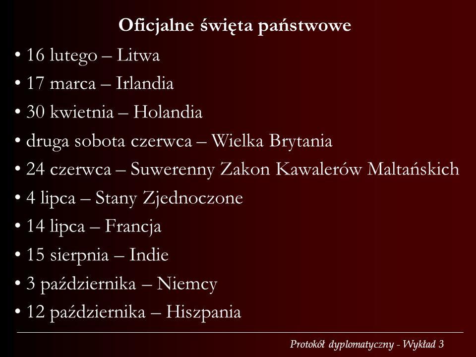 Protokół dyplomatyczny - Wykład 3 16 lutego – Litwa 17 marca – Irlandia 30 kwietnia – Holandia druga sobota czerwca – Wielka Brytania 24 czerwca – Suwerenny Zakon Kawalerów Maltańskich 4 lipca – Stany Zjednoczone 14 lipca – Francja 15 sierpnia – Indie 3 października – Niemcy 12 października – Hiszpania Oficjalne święta państwowe