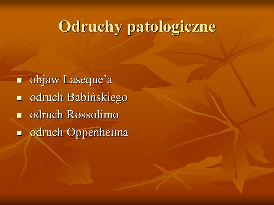 Odruchy patologiczne objaw Laseque'a objaw Laseque'a odruch Babińskiego odruch Babińskiego odruch Rossolimo odruch Rossolimo odruch Oppenheima odruch