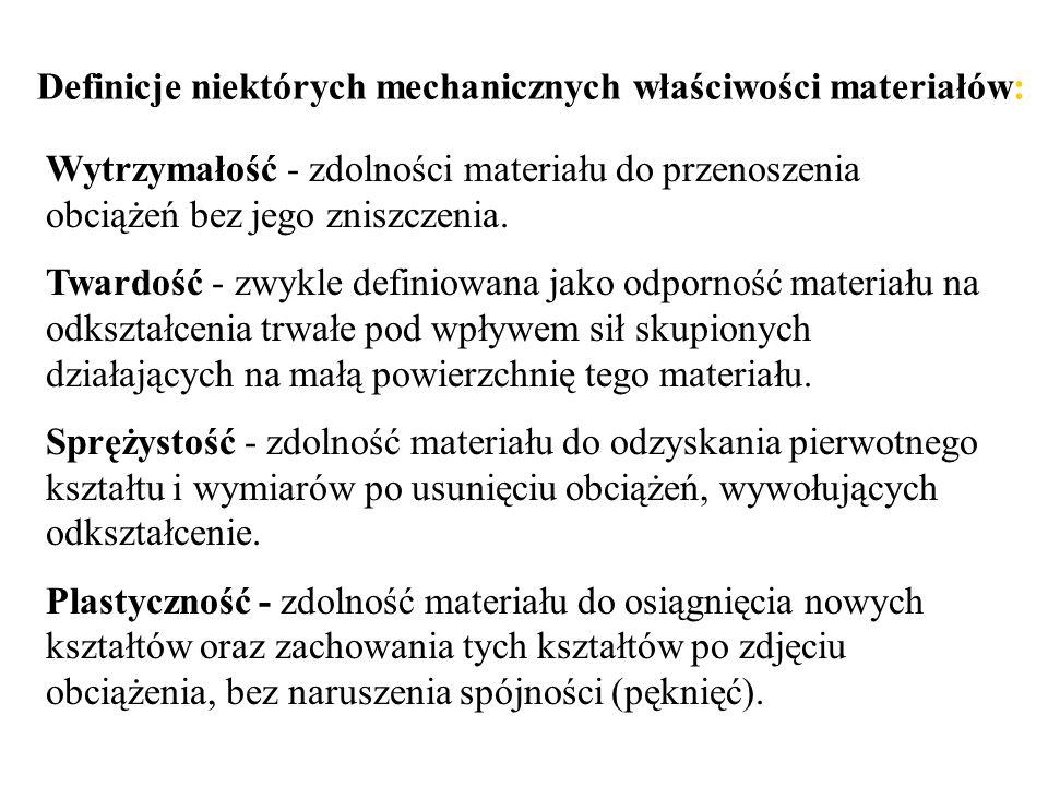 Wytrzymałość - zdolności materiału do przenoszenia obciążeń bez jego zniszczenia. Twardość - zwykle definiowana jako odporność materiału na odkształce
