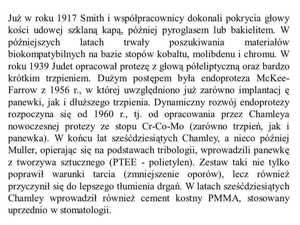Już w roku 1917 Smith i współpracownicy dokonali pokrycia głowy kości udowej szklaną kapą, później pyroglasem lub bakielitem. W późniejszych latach tr