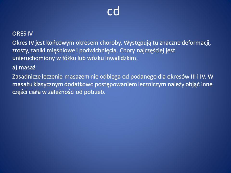 cd ORES IV Okres IV jest końcowym okresem choroby. Występują tu znaczne deformacji, zrosty, zaniki mięśniowe i podwichnięcia. Chory najczęściej jest u
