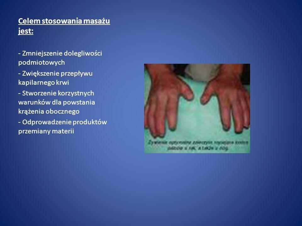 Celem stosowania masażu jest: - Zmniejszenie dolegliwości podmiotowych - Zwiększenie przepływu kapilarnego krwi - Stworzenie korzystnych warunków dla