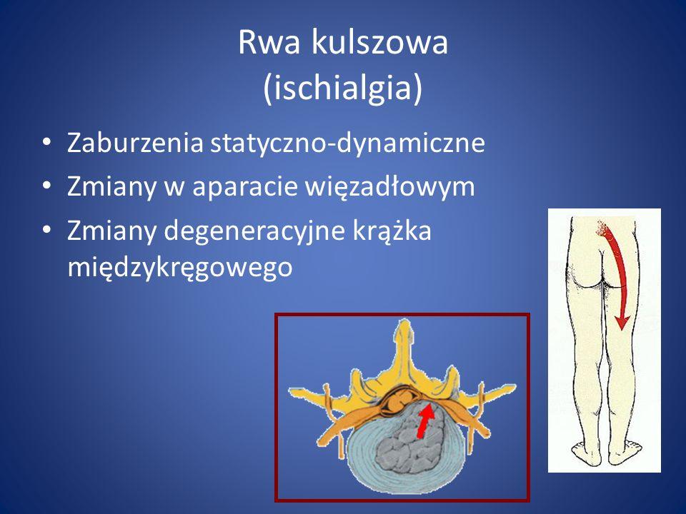 Rwa kulszowa (ischialgia) Zaburzenia statyczno-dynamiczne Zmiany w aparacie więzadłowym Zmiany degeneracyjne krążka międzykręgowego