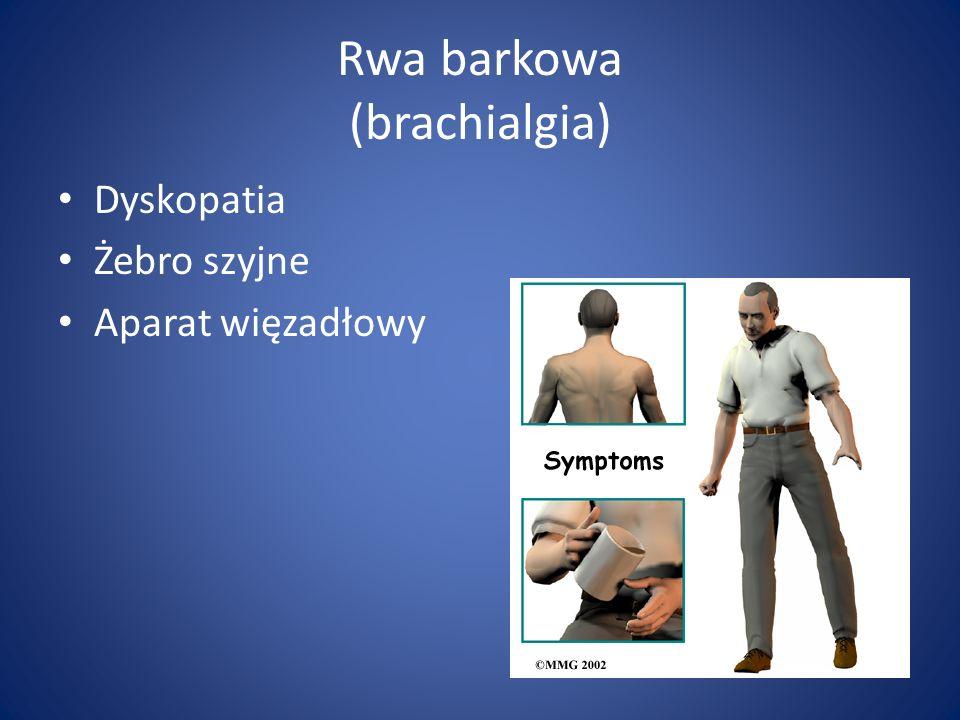 Rwa barkowa (brachialgia) Dyskopatia Żebro szyjne Aparat więzadłowy
