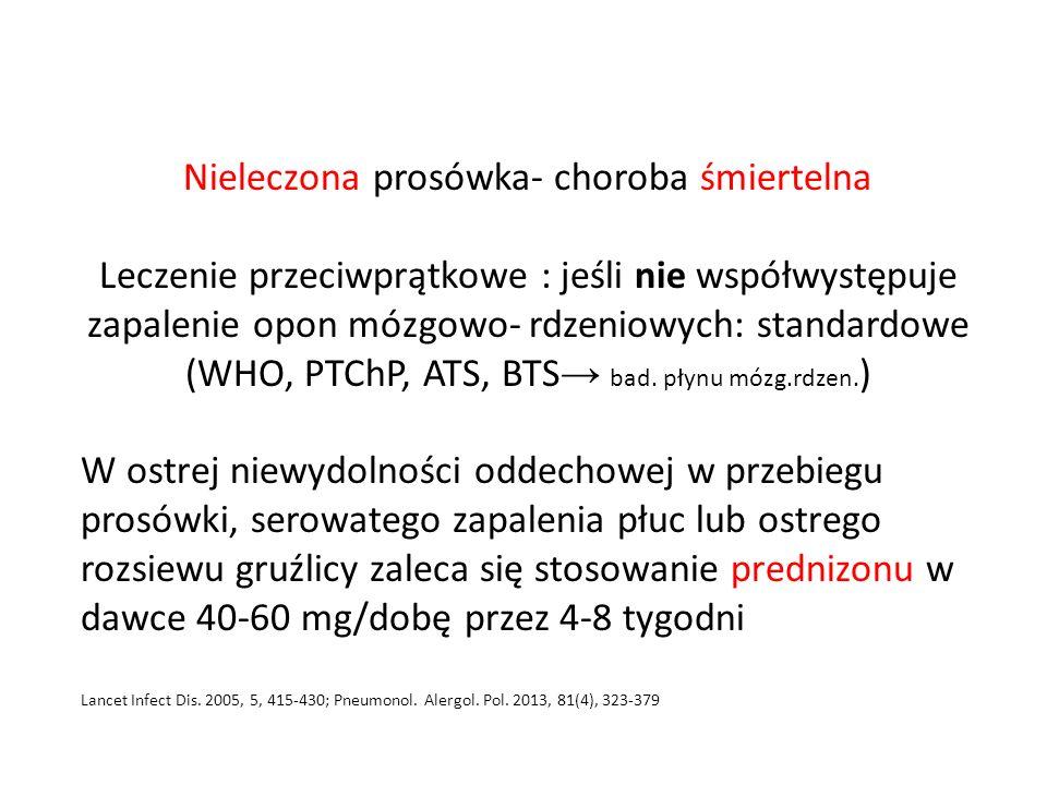 Nieleczona prosówka- choroba śmiertelna Leczenie przeciwprątkowe : jeśli nie współwystępuje zapalenie opon mózgowo- rdzeniowych: standardowe (WHO, PTChP, ATS, BTS → bad.
