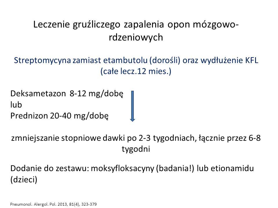 Leczenie gruźliczego zapalenia opon mózgowo- rdzeniowych Streptomycyna zamiast etambutolu (dorośli) oraz wydłużenie KFL (całe lecz.12 mies.) Deksametazon 8-12 mg/dobę lub Prednizon 20-40 mg/dobę zmniejszanie stopniowe dawki po 2-3 tygodniach, łącznie przez 6-8 tygodni Dodanie do zestawu: moksyfloksacyny (badania!) lub etionamidu (dzieci) Pneumonol.