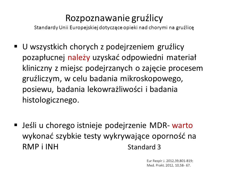 Rozpoznawanie gruźlicy Standardy Unii Europejskiej dotyczące opieki nad chorymi na gruźlicę  U wszystkich chorych z podejrzeniem gruźlicy pozapłucnej