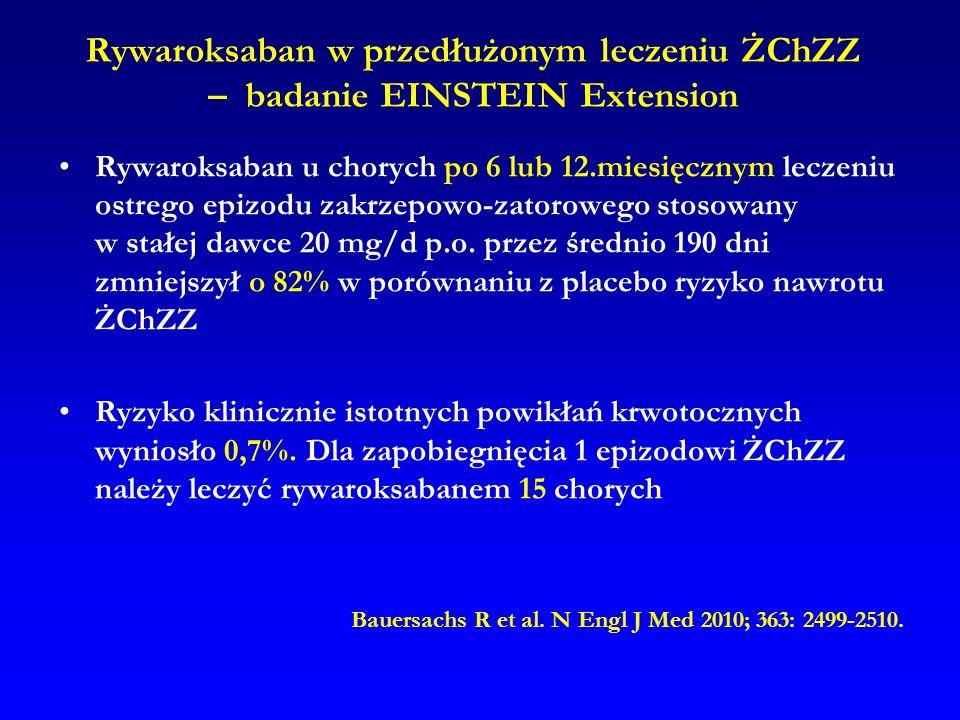 Rywaroksaban w przedłużonym leczeniu ŻChZZ – badanie EINSTEIN Extension Rywaroksaban u chorych po 6 lub 12.miesięcznym leczeniu ostrego epizodu zakrze
