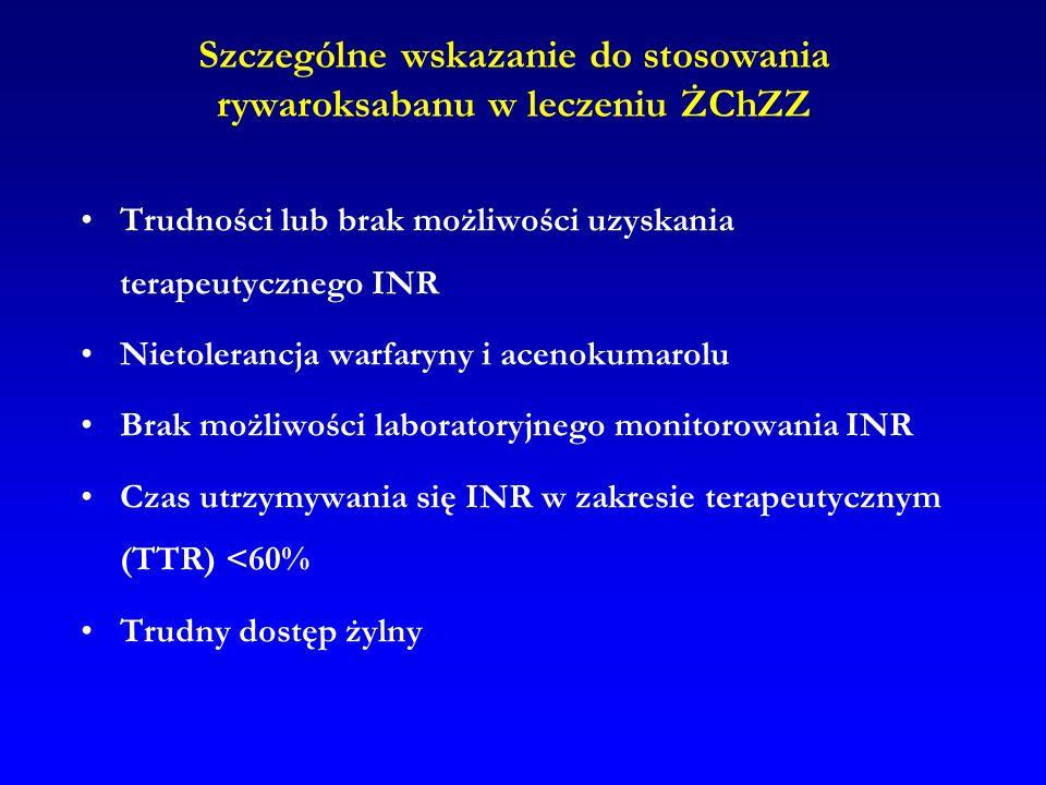 Szczególne wskazanie do stosowania rywaroksabanu w leczeniu ŻChZZ Trudności lub brak możliwości uzyskania terapeutycznego INR Nietolerancja warfaryny