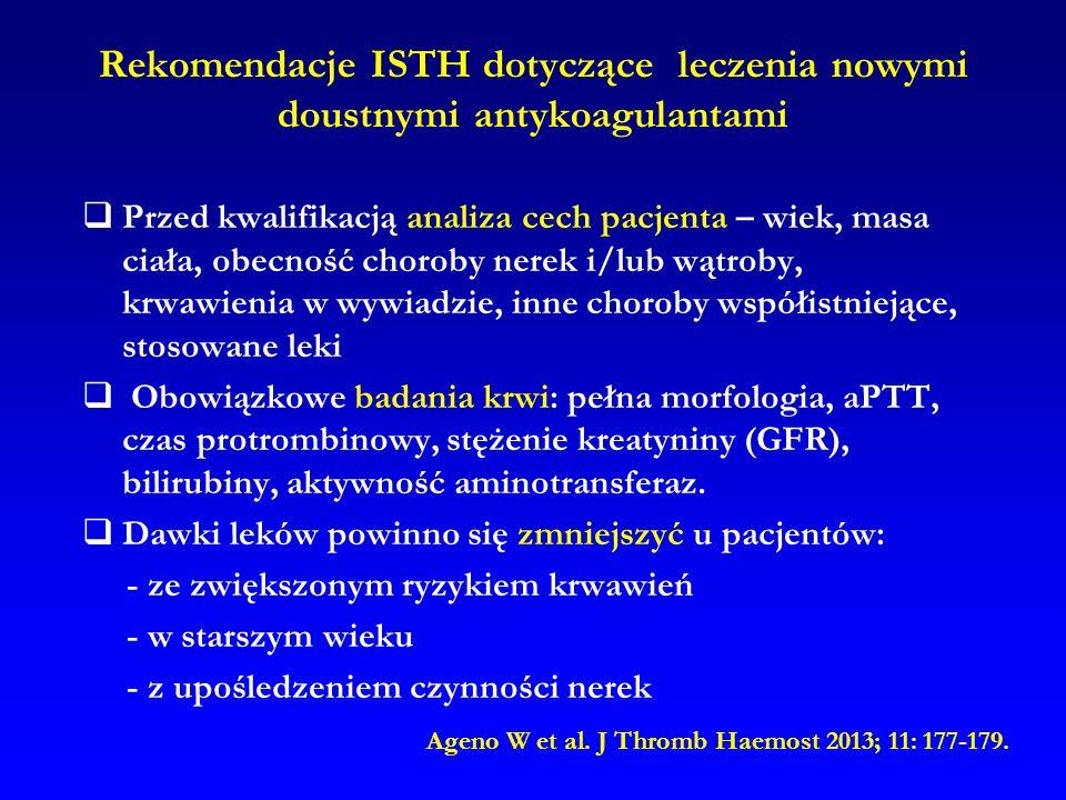 Rekomendacje ISTH dotyczące leczenia nowymi doustnymi antykoagulantami  Przed kwalifikacją analiza cech pacjenta – wiek, masa ciała, obecność choroby