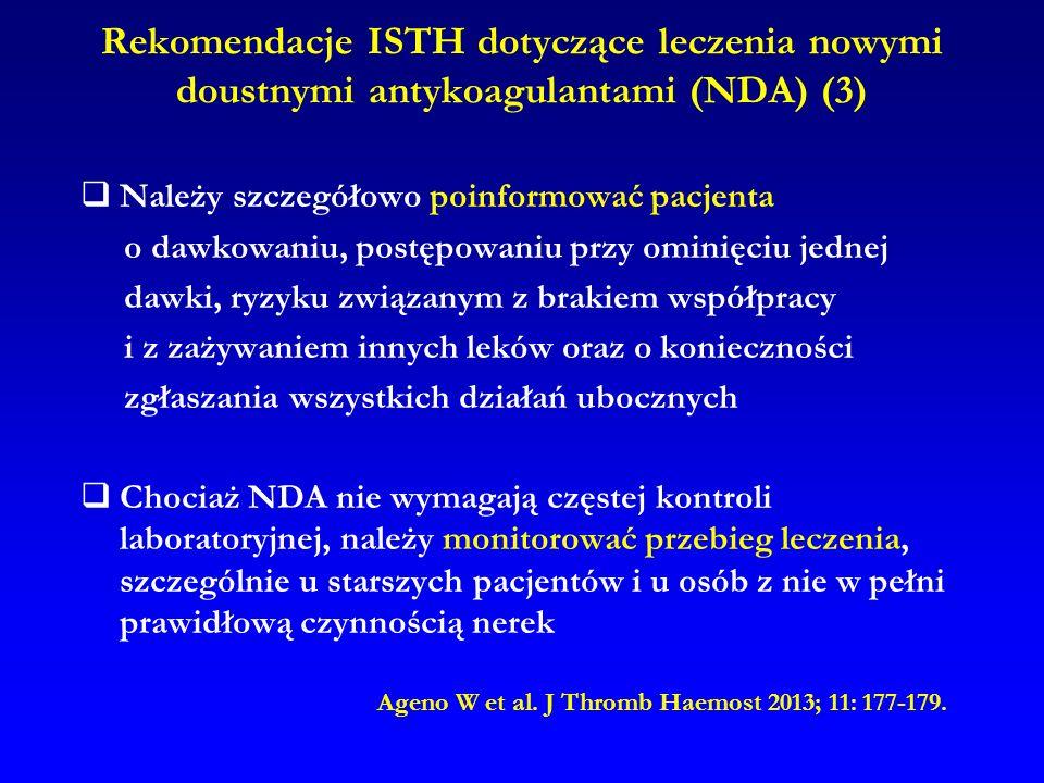 Rekomendacje ISTH dotyczące leczenia nowymi doustnymi antykoagulantami (NDA) (3)  Należy szczegółowo poinformować pacjenta o dawkowaniu, postępowaniu