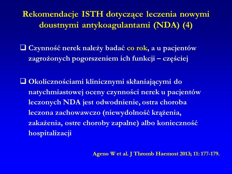 Rekomendacje ISTH dotyczące leczenia nowymi doustnymi antykoagulantami (NDA) (4)  Czynność nerek należy badać co rok, a u pacjentów zagrożonych pogor