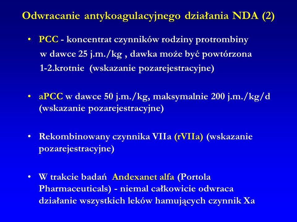 Odwracanie antykoagulacyjnego działania NDA (2) PCC - koncentrat czynników rodziny protrombiny w dawce 25 j.m./kg, dawka może być powtórzona 1-2.krotn