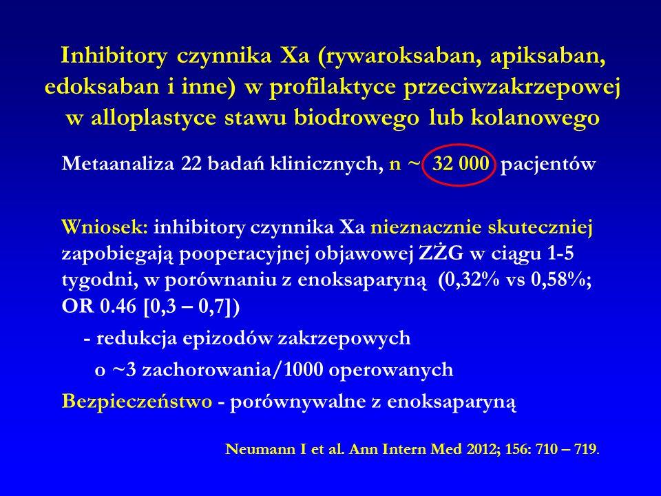 Inhibitory czynnika Xa (rywaroksaban, apiksaban, edoksaban i inne) w profilaktyce przeciwzakrzepowej w alloplastyce stawu biodrowego lub kolanowego Me