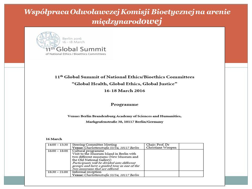 Współpraca Odwoławczej Komisji Bioetycznej na arenie międzynarod owej