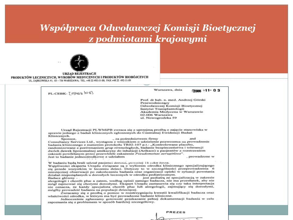 WSPÓŁPRACA ODWOŁAWCZEJ KOMISJI BIOETYCZNEJ NA ARENIE MIĘDZYNARODOWEJ Współpraca Odwoławczej Komisji Bioetycznej z podmiotami krajowymi