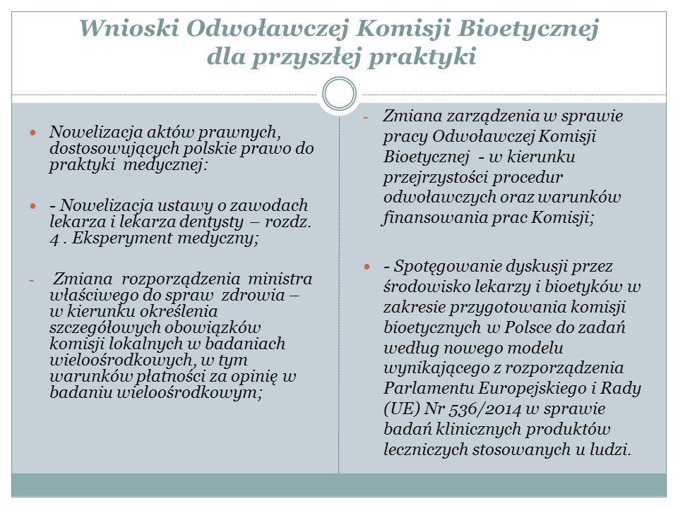 Wnioski Odwoławczej Komisji Bioetycznej dla przyszłej praktyki Nowelizacja aktów prawnych, dostosowujących polskie prawo do praktyki medycznej: - Nowe