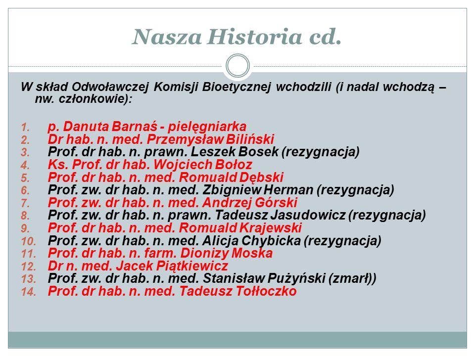 W skład Odwoławczej Komisji Bioetycznej wchodzili (i nadal wchodzą – nw. członkowie): 1. p. Danuta Barnaś - pielęgniarka 2. Dr hab. n. med. Przemysław