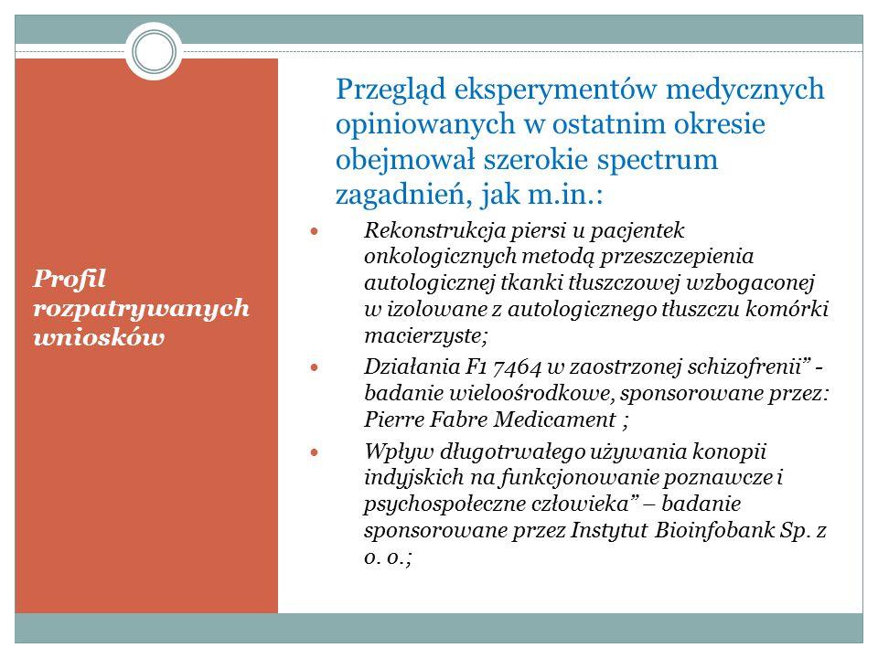 Profil rozpatrywanych wniosków Przegląd eksperymentów medycznych opiniowanych w ostatnim okresie obejmował szerokie spectrum zagadnień, jak m.in.: Rekonstrukcja piersi u pacjentek onkologicznych metodą przeszczepienia autologicznej tkanki tłuszczowej wzbogaconej w izolowane z autologicznego tłuszczu komórki macierzyste; Działania F1 7464 w zaostrzonej schizofrenii - badanie wieloośrodkowe, sponsorowane przez: Pierre Fabre Medicament ; Wpływ długotrwałego używania konopii indyjskich na funkcjonowanie poznawcze i psychospołeczne człowieka – badanie sponsorowane przez Instytut Bioinfobank Sp.