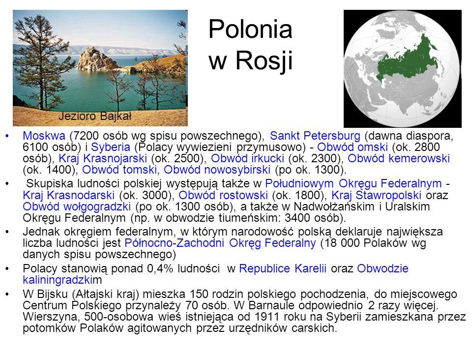 Polonia w Rosji Moskwa (7200 osób wg spisu powszechnego), Sankt Petersburg (dawna diaspora, 6100 osób) i Syberia (Polacy wywiezieni przymusowo) - Obwó
