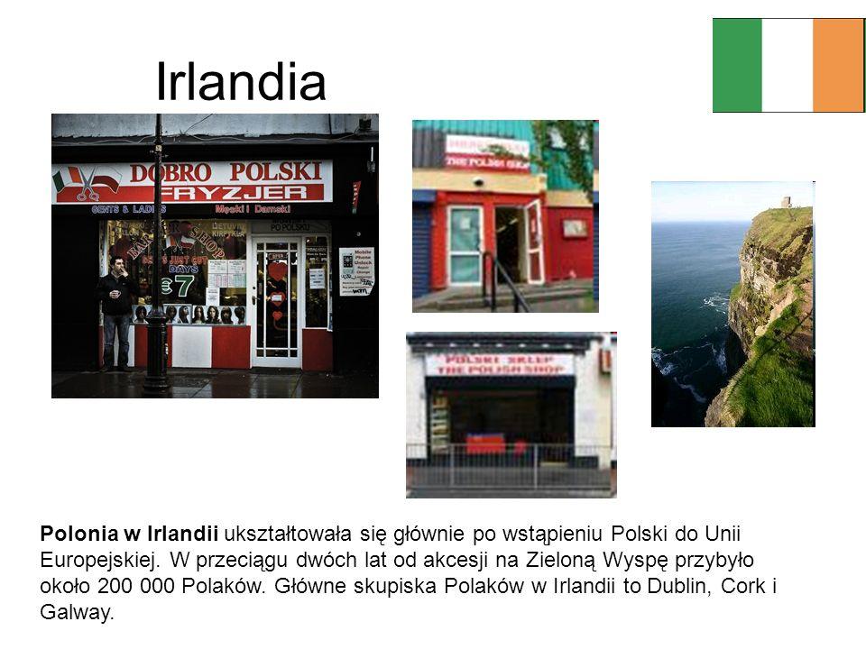 Irlandia Polonia w Irlandii ukształtowała się głównie po wstąpieniu Polski do Unii Europejskiej. W przeciągu dwóch lat od akcesji na Zieloną Wyspę prz