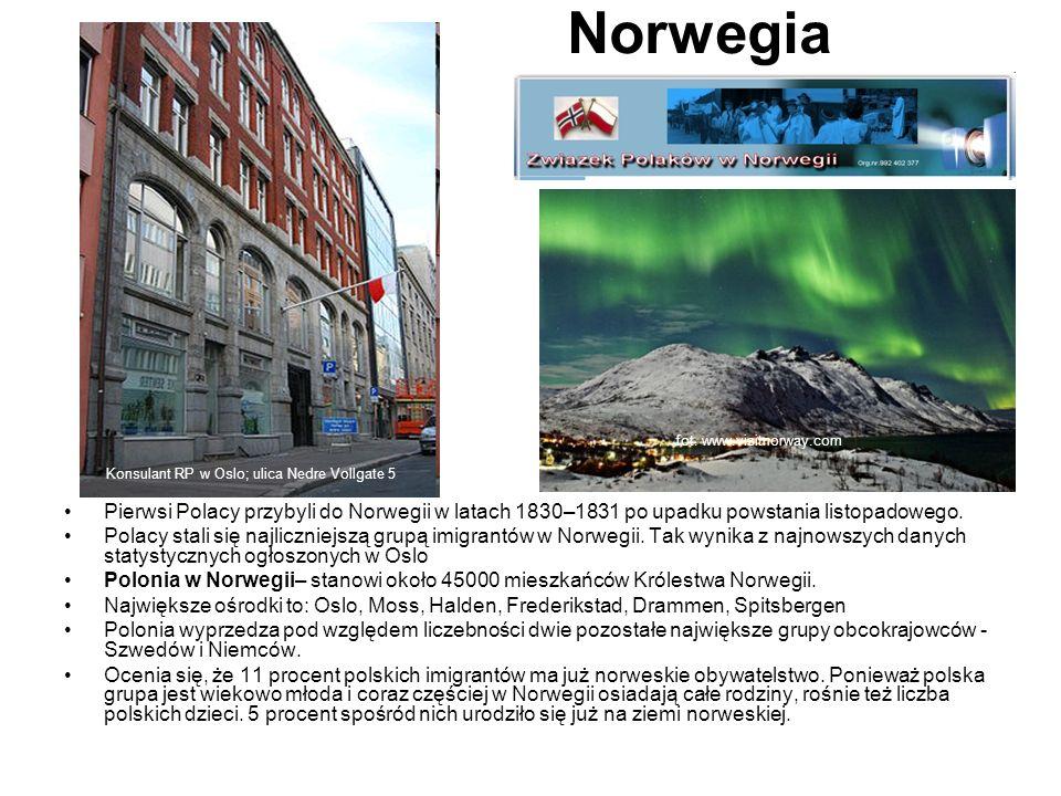 Norwegia Pierwsi Polacy przybyli do Norwegii w latach 1830–1831 po upadku powstania listopadowego. Polacy stali się najliczniejszą grupą imigrantów w