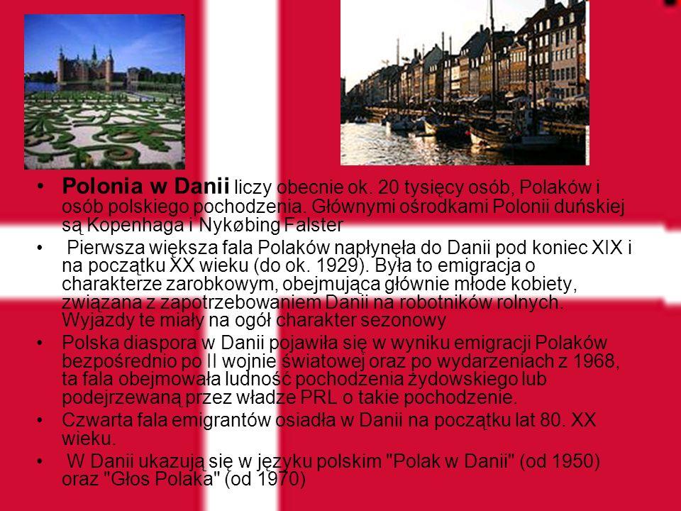 Polonia w Danii liczy obecnie ok. 20 tysięcy osób, Polaków i osób polskiego pochodzenia. Głównymi ośrodkami Polonii duńskiej są Kopenhaga i Nykøbing F