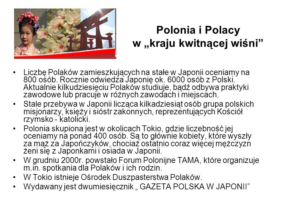 Liczbę Polaków zamieszkujących na stałe w Japonii oceniamy na 800 osób. Rocznie odwiedza Japonię ok. 6000 osób z Polski. Aktualnie kilkudziesięciu Pol