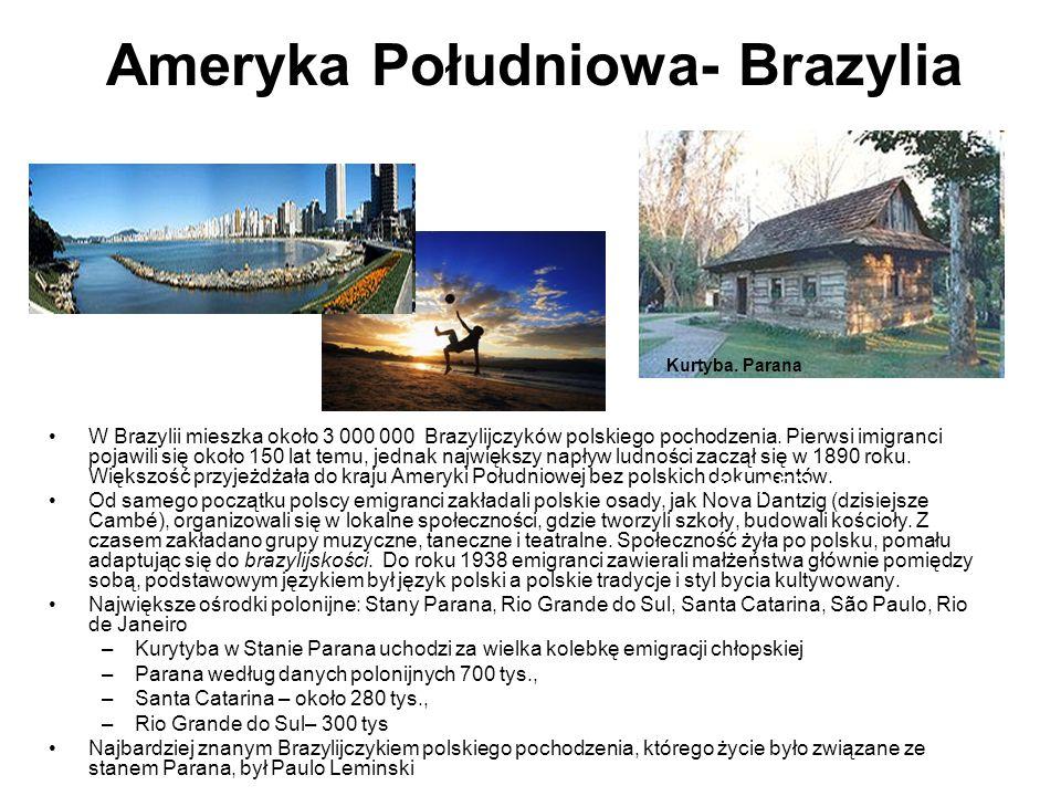 Ameryka Południowa- Brazylia W Brazylii mieszka około 3 000 000 Brazylijczyków polskiego pochodzenia.