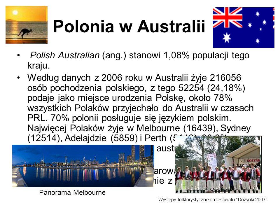 Polonia w Australii Polish Australian (ang.) stanowi 1,08% populacji tego kraju. Według danych z 2006 roku w Australii żyje 216056 osób pochodzenia po