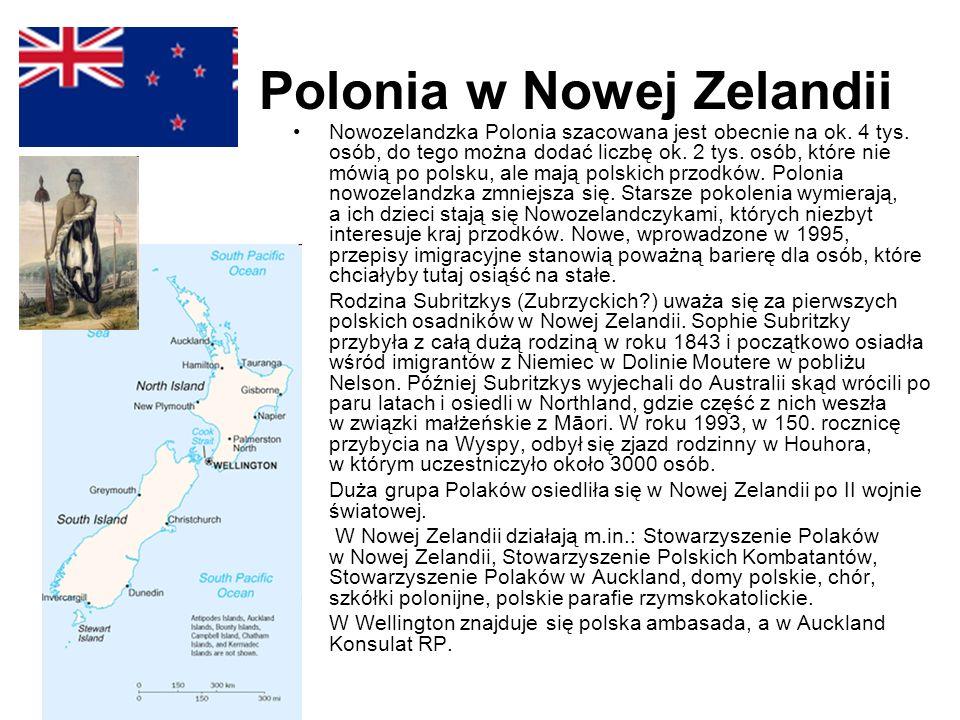 Polonia w Nowej Zelandii Nowozelandzka Polonia szacowana jest obecnie na ok. 4 tys. osób, do tego można dodać liczbę ok. 2 tys. osób, które nie mówią