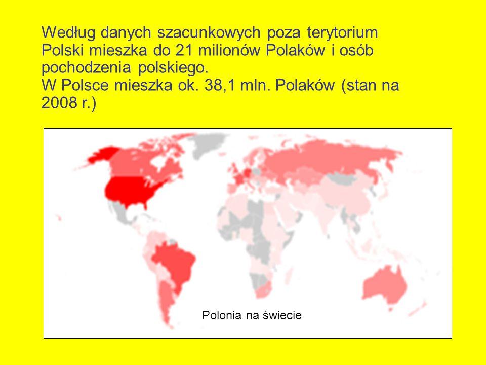 Według danych szacunkowych poza terytorium Polski mieszka do 21 milionów Polaków i osób pochodzenia polskiego. W Polsce mieszka ok. 38,1 mln. Polaków