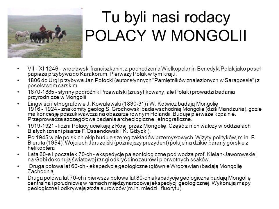 Tu byli nasi rodacy POLACY W MONGOLII VII - XI 1246 - wrocławski franciszkanin, z pochodzenia Wielkopolanin Benedykt Polak jako poseł papieża przybywa do Karakorum.