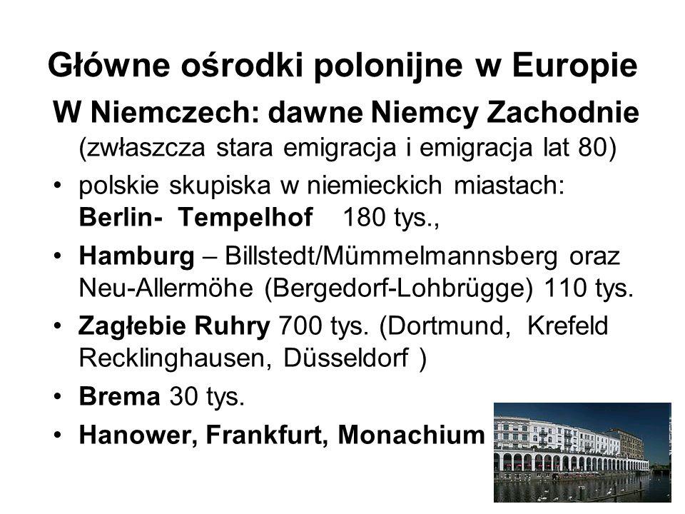 Główne ośrodki polonijne w Europie W Niemczech: dawne Niemcy Zachodnie (zwłaszcza stara emigracja i emigracja lat 80) polskie skupiska w niemieckich miastach: Berlin- Tempelhof 180 tys., Hamburg – Billstedt/Mümmelmannsberg oraz Neu-Allermöhe (Bergedorf-Lohbrügge) 110 tys.