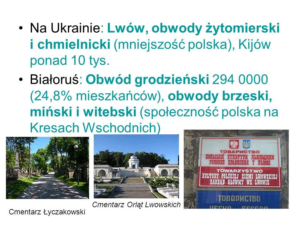 Na Ukrainie: Lwów, obwody żytomierski i chmielnicki (mniejszość polska), Kijów ponad 10 tys. Białoruś: Obwód grodzieński 294 0000 (24,8% mieszkańców),