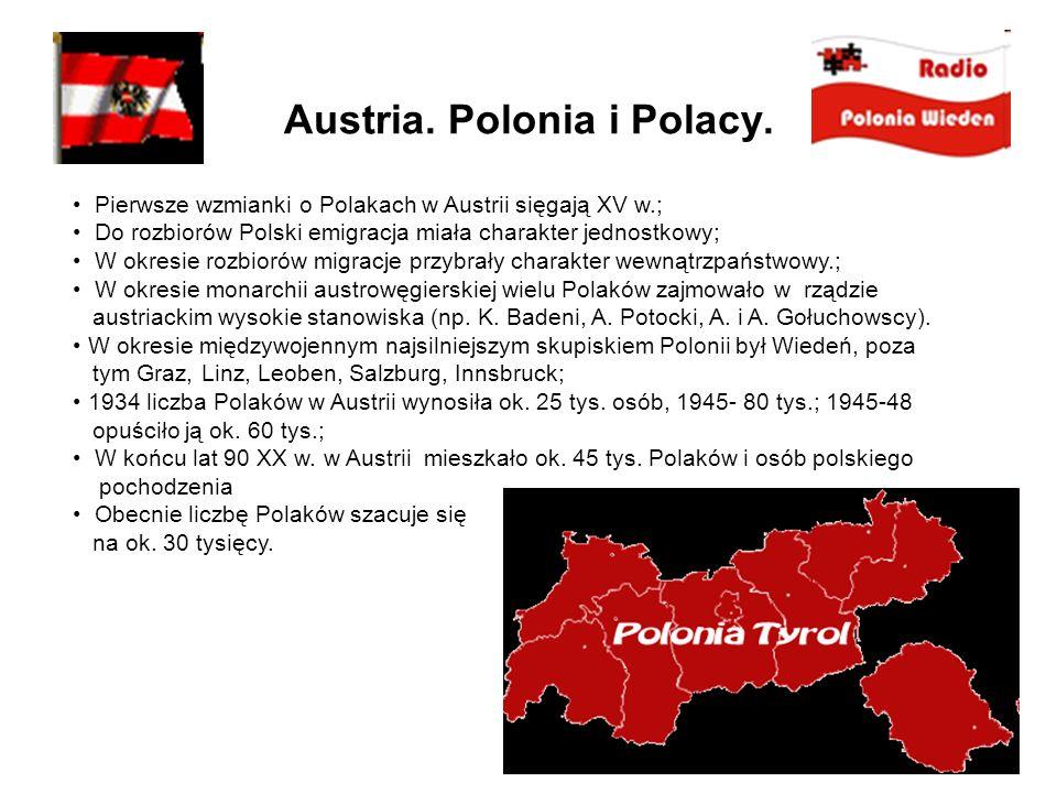 Austria. Polonia i Polacy. Pierwsze wzmianki o Polakach w Austrii sięgają XV w.; Do rozbiorów Polski emigracja miała charakter jednostkowy; W okresie