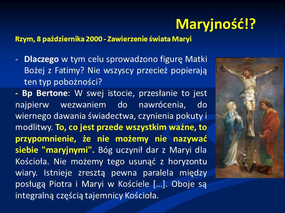 Benedykt XVI o Fatimie 2011 rok Światłość Świata, Kraków 2011 Trwa cierpienie Kościoła i trwa zagrożenie człowieka, a tym samym nie ustaje szukanie odpowiedzi; dlatego wciąż aktualna pozostaje wskazówka, którą dała nam Maryja.