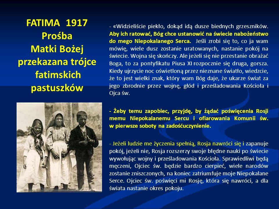 """Paweł VI Rok 1967 Adhortacja Signum magnum """"Wzywam wszystkich synów Kościoła, aby osobiście ponowili to poświęcenie się Niepokalanemu Sercu Matki Kościoła; aby też stwierdzając ten wspaniały znak pobożności całym swym postępowaniem starali się coraz doskonalej wypełniać wolę Bożą, naśladować ze czcią Królową Niebios i służyć Jej w duchu synowskim ."""