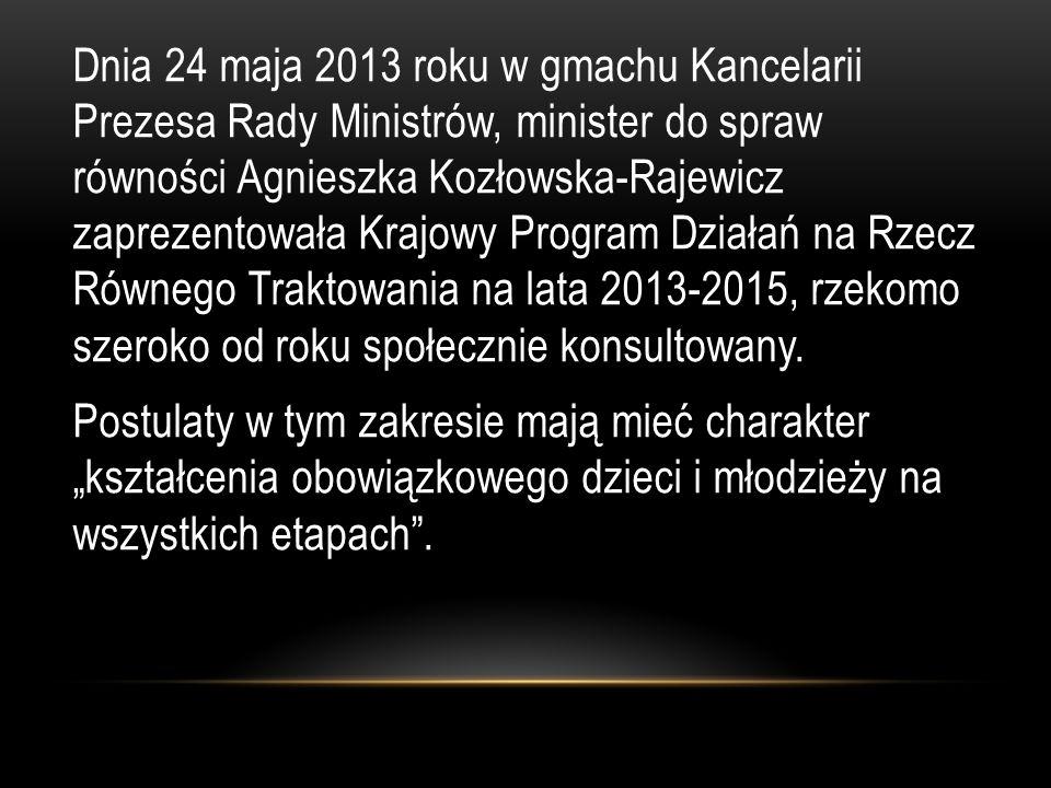 Dnia 24 maja 2013 roku w gmachu Kancelarii Prezesa Rady Ministrów, minister do spraw równości Agnieszka Kozłowska-Rajewicz zaprezentowała Krajowy Program Działań na Rzecz Równego Traktowania na lata 2013-2015, rzekomo szeroko od roku społecznie konsultowany.