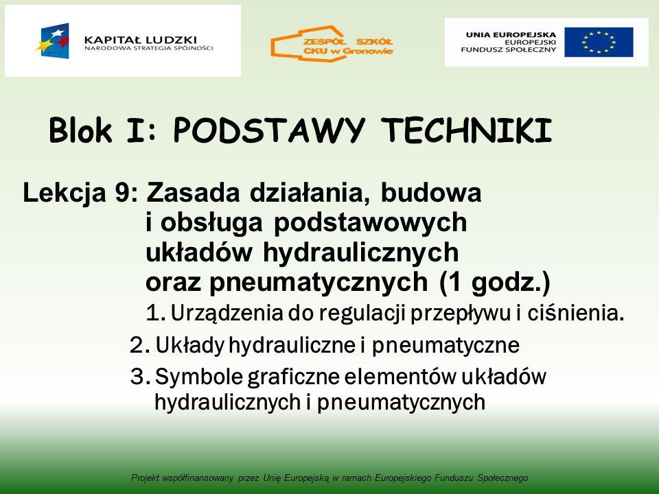 Blok I: PODSTAWY TECHNIKI Lekcja 9: Zasada działania, budowa i obsługa podstawowych układów hydraulicznych oraz pneumatycznych (1 godz.) 1.