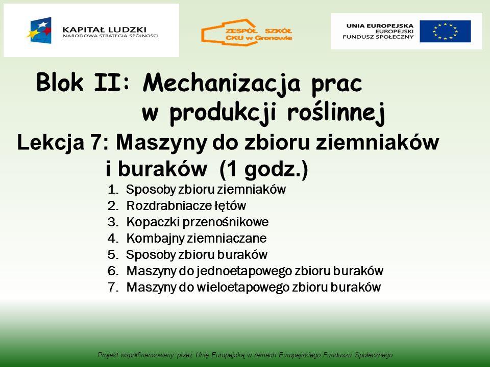 Blok II: Mechanizacja prac w produkcji roślinnej Projekt współfinansowany przez Unię Europejską w ramach Europejskiego Funduszu Społecznego Lekcja 7: Maszyny do zbioru ziemniaków i buraków (1 godz.) 1.Sposoby zbioru ziemniaków 2.Rozdrabniacze łętów 3.Kopaczki przenośnikowe 4.Kombajny ziemniaczane 5.Sposoby zbioru buraków 6.Maszyny do jednoetapowego zbioru buraków 7.Maszyny do wieloetapowego zbioru buraków